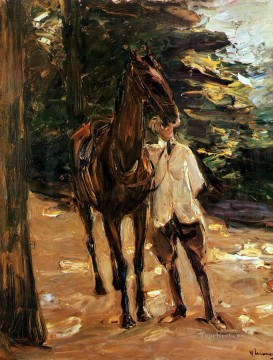 horse racing Painting - man with horse Max Liebermann German Impressionism