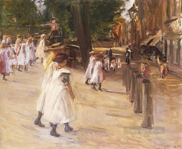 1904 Painting - on the way to school in edam 1904 Max Liebermann German Impressionism