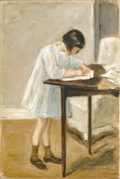 Max Liebermann Painting - the artist s granddaughter at the table 1923 Max Liebermann German Impressionism