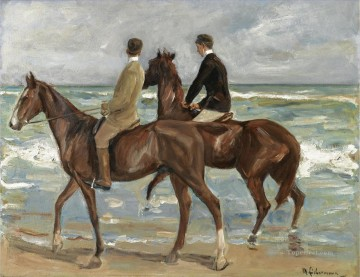 left Canvas - Horseman on the beach to the left Max Liebermann German Impressionism