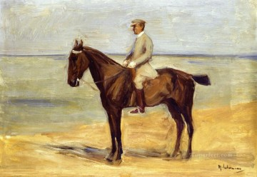 left Canvas - rider on the beach facing left 1911 Max Liebermann German Impressionism