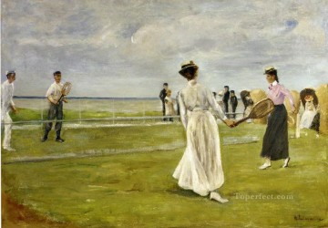 Game Art Painting - tennis game by the sea 1901 Max Liebermann German Impressionism
