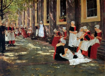 Hour Painting - free hour at amsterdam orphanage 1876 Max Liebermann German Impressionism