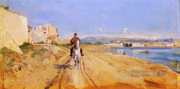 route Works - Self Portrait Along The Route De La Salice Antibes classicist Jean Louis Ernest Meissonier