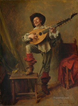 Artworks by 350 Famous Artists Painting - Soldier Playing the Theorbo Ernest Meissonier Academic