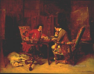 Jean Louis Ernest Meissonier Painting - Chess Players classicist Jean Louis Ernest Meissonier