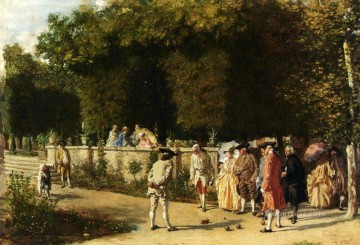 Playing Painting - Playing Jeu De Boules classicist Jean Louis Ernest Meissonier