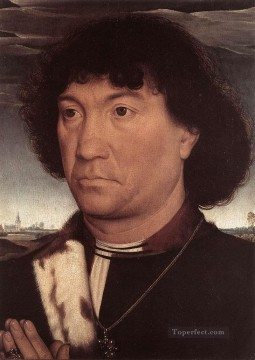 Hans Memling Painting - Portrait of a Man at Prayer before a Landscape 1480 Netherlandish Hans Memling