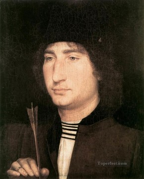 Hans Memling Painting - Portrait of a Man with an Arrow 1478 Netherlandish Hans Memling