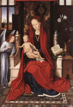 Virgin Enthroned with Child and Angel 1480 Netherlandish Hans Memling Oil Paintings