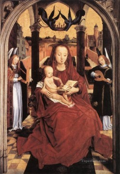 Hans Memling Painting - Virgin and Child Enthroned with two Musical Angels Netherlandish Hans Memling
