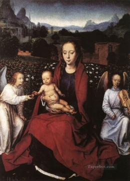 Hans Memling Painting - Virgin and Child in a Rose Garden with Two Angels 1480s Netherlandish Hans Memling