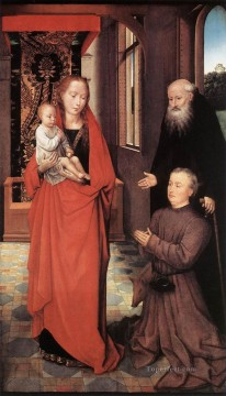 Hans Memling Painting - Virgin and Child with St Anthony the Abbot and a Donor 1472 Netherlandish Hans Memling