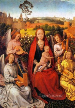 Angels Works - Virgin and Child with Musician Angels 1480 Netherlandish Hans Memling