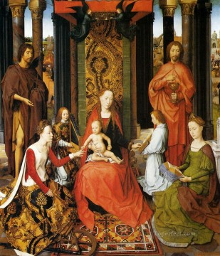Hans Memling Painting - The Mystic Marriage Of St catherine Of Alexandria Netherlandish Hans Memling