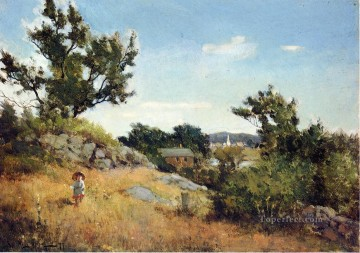 A View of the Village scenery Willard Leroy Metcalf Oil Paintings