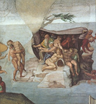 Michelangelo Painting - Sistine Chapel Ceiling Genesis Noah 79 The Flood right view High Renaissance Michelangelo