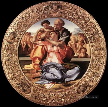 Michelangelo Painting - The Doni Tondo framed High Renaissance Michelangelo