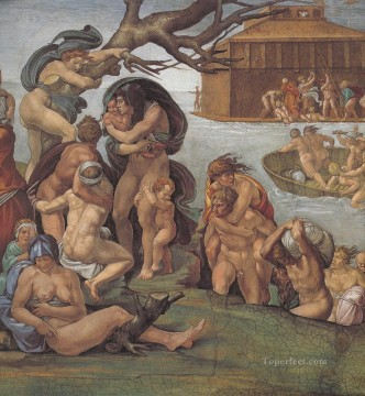 Michelangelo Painting - Sistine Chapel Ceiling Genesis Noah 79 The Flood left view High Renaissance Michelangelo