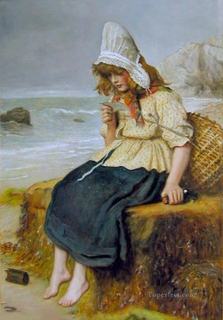 Sea Painting - Message From the Sea Pre Raphaelite John Everett Millais