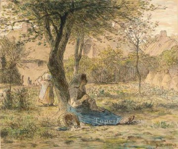 garden Oil Painting - In the Garden Barbizon naturalism realism farmers Jean Francois Millet