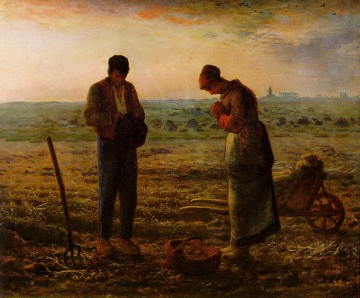 realism painting - The Angelus ATC Barbizon naturalism realism farmers Jean Francois Millet