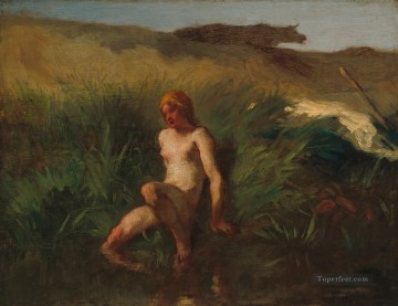 realism painting - The Bather Barbizon naturalism realism farmers Jean Francois Millet