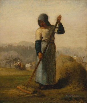 farm Works - Woman with a Rake Barbizon naturalism realism farmers Jean Francois Millet