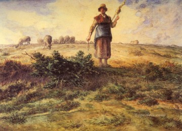 farm Works - A Shepherdess And Her Flock Barbizon naturalism realism farmers Jean Francois Millet