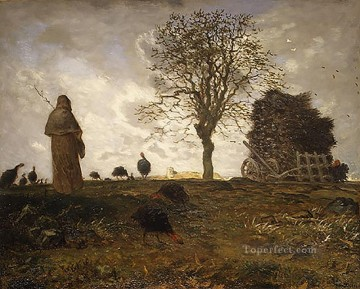 Landscape Art - Autumn Landscape with a Flock of Turkeys farmers Jean Francois Millet