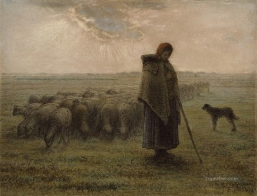 realism painting - Shepherdess with Her Flock ATC Barbizon naturalism realism farmers Jean Francois Millet