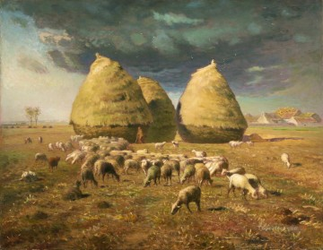 realism painting - Haystacks Autumn Barbizon naturalism realism farmers Jean Francois Millet