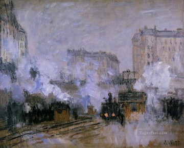 Exterior of the Saint Lazare Station Arrival of a Train Claude Monet Oil Paintings
