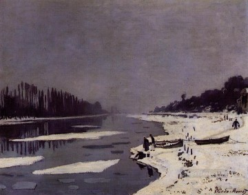 Ice Floes on the Saine at Bougival Oil Paintings