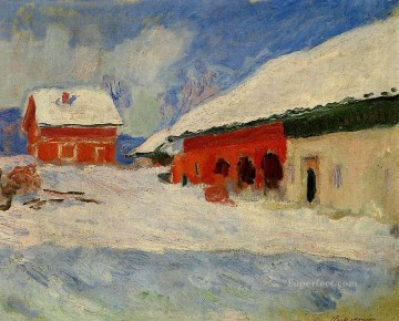 red Oil Painting - Red Houses at Bjornegaard in the Snow Norway Claude Monet