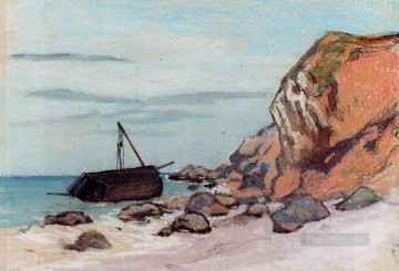 Monet Oil Painting - SaintAdresse Beached Sailboat Claude Monetcirca