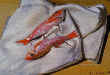 red Oil Painting - Still Life Red Mullets Claude Monet