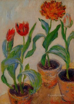 Three Pots of Tulips Claude Monet Oil Paintings