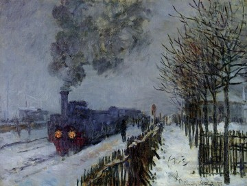 Train in the Snow the Locomotive 莫奈油画、国画