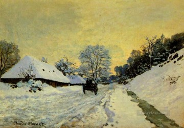 red Oil Painting - A Cart on the Snow Covered Road with SaintSimeon Farm Claude Monet
