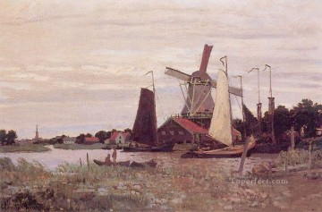 A Windmill at Zaandam Claude Monet Oil Paintings