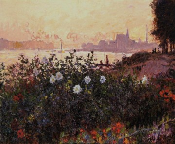 Argenteuil Canvas - Argenteuil Flowers by the Riverbank Claude Monet