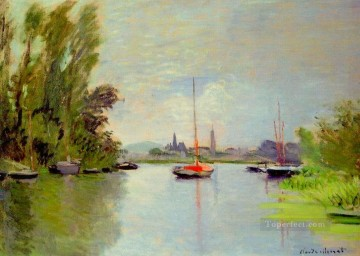 monet banks of the seine Painting - Argenteuil Seen from the Small Arm of the Seine Claude Monet