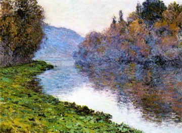 Monet Oil Painting - Banks of the Seine at Jenfosse Clear Weather Claude Monet