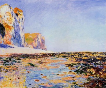 Cliffs Art - Beach and Cliffs at Pourville Morning Effect Claude Monet