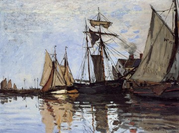 boat art painting - Boats in the Port of Honfleur Claude Monet