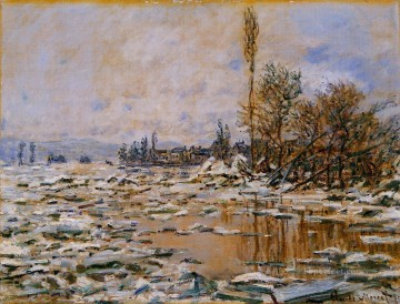 Breakup of Ice Grey Weather Claude Monet Oil Paintings