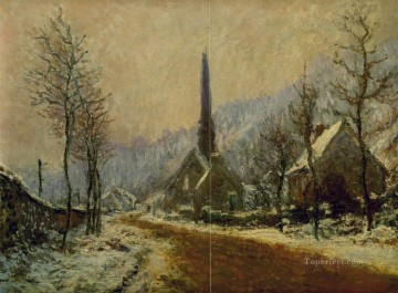 Monet Works - Church at Jeufosse Snowy Weather Claude Monet