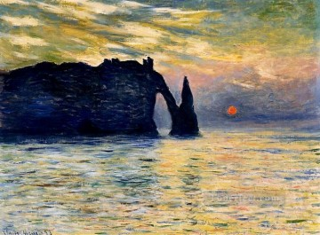 Sun Oil Painting - Etretat Sunset Claude Monet