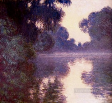 Morning Painting - Misty morning on the Seine blue Claude Monet